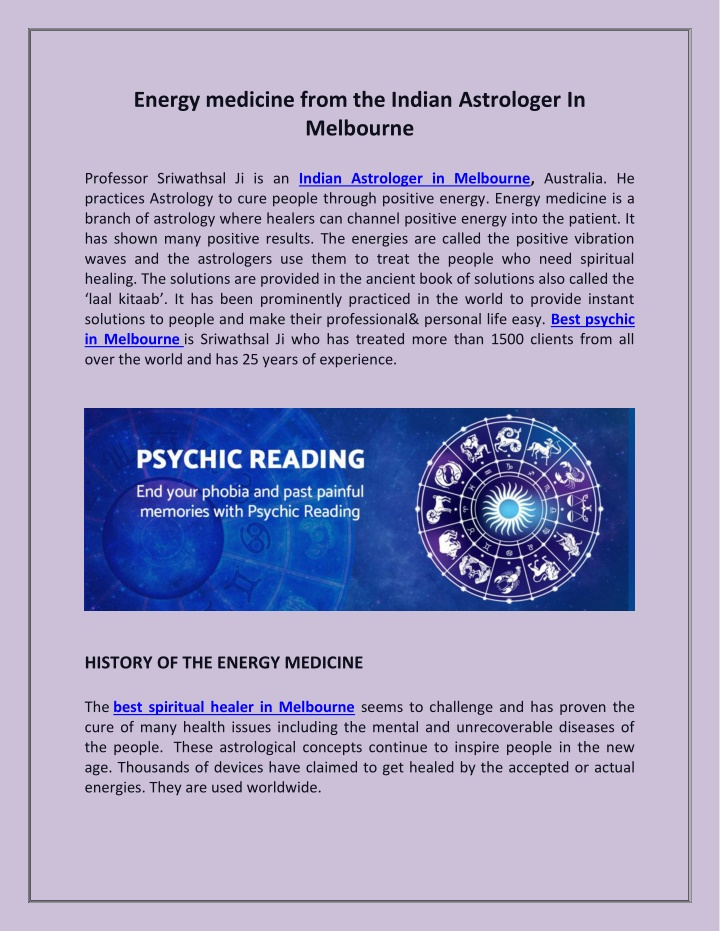 PPT - Energy medicine from the Indian Astrologer In Melbourne PowerPoint Presentation - ID:10435706
