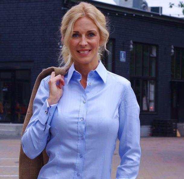 Luxurious women's Blue Shirt with French Cuffs