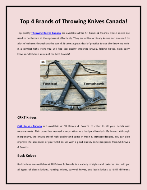 Top 4 Brands of Throwing Knives Canada!   edocr