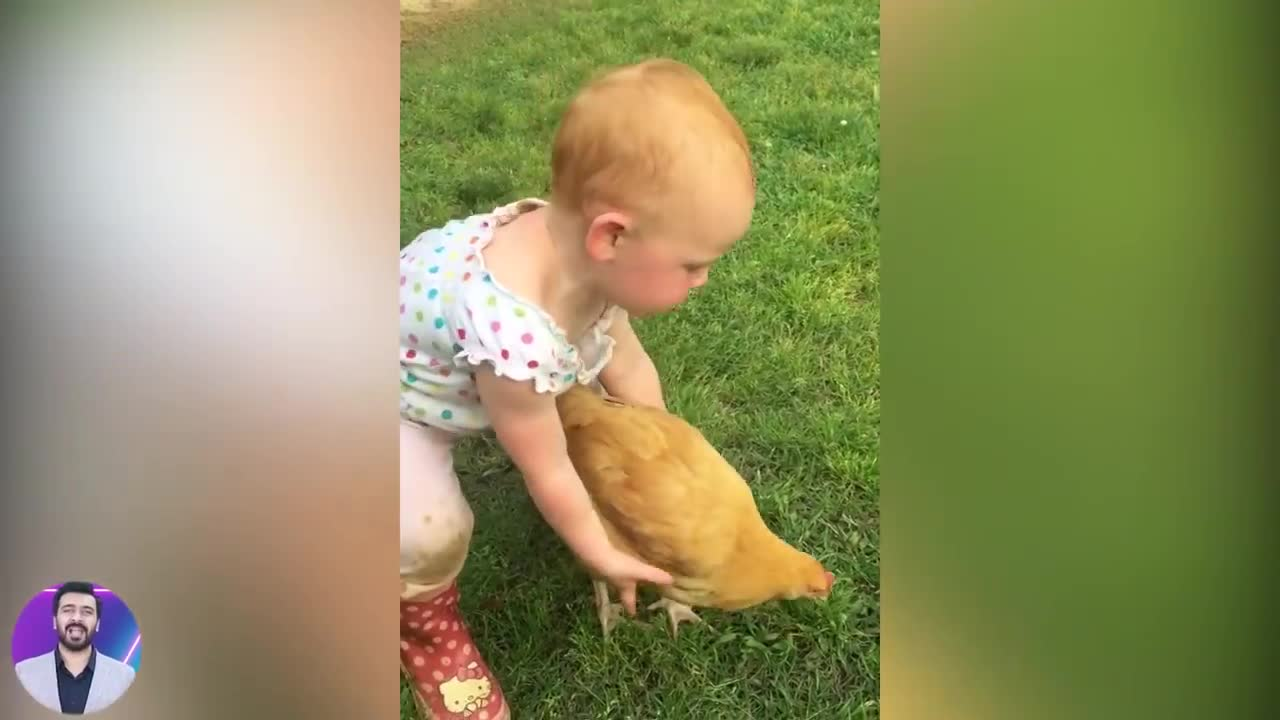 Funny and Sweet Baby Moments _ 1001 Funny Baby Reaction When Play with Chicken _ Funny Videos