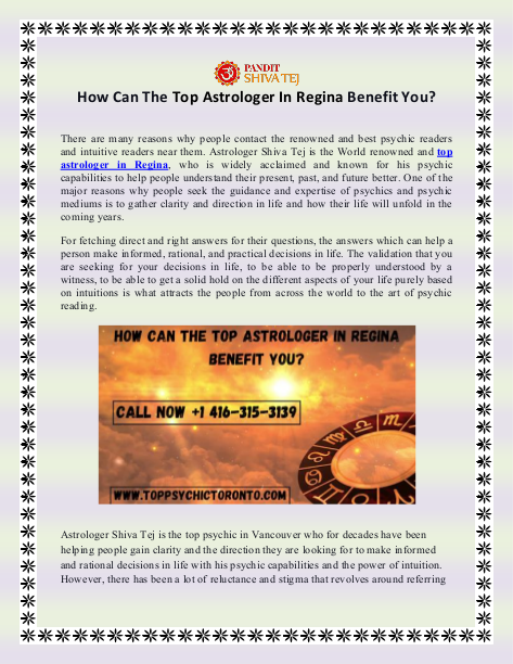 How Can The Top Astrologer In Regina Benefit You   edocr