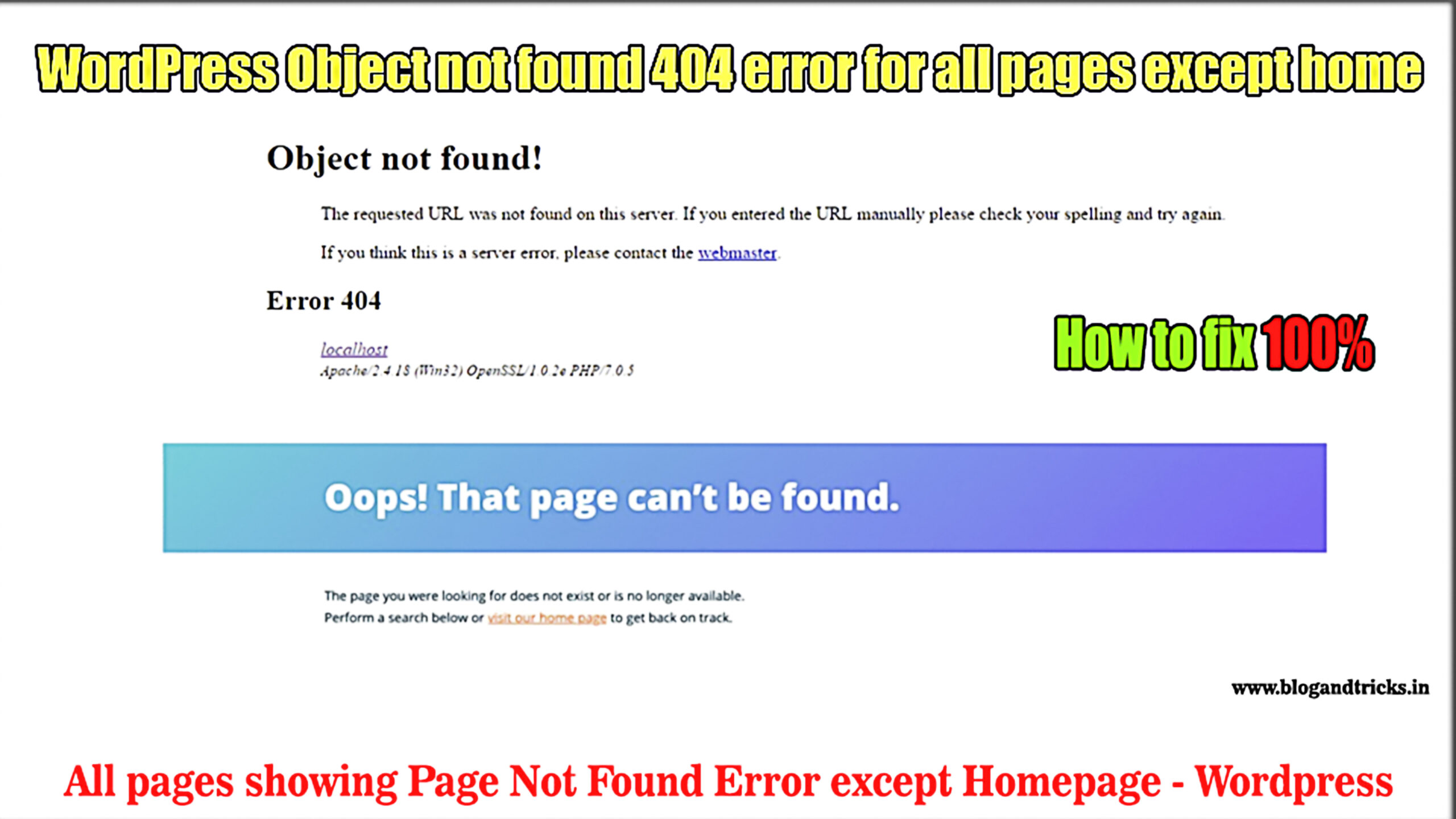 Object not found error 404 for all pages except homepage - wordpresstips