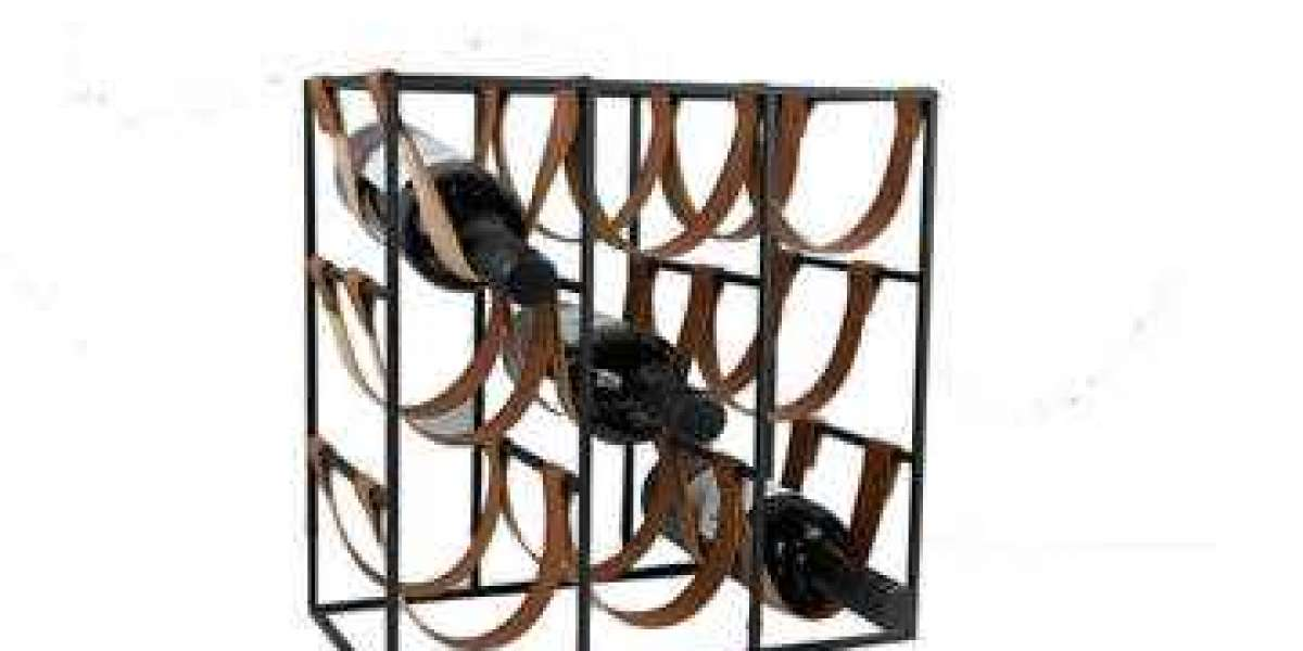 Metal wine holder in grid form with rack racket for mounting on the wall