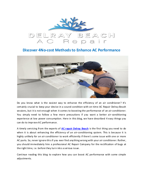 Discover 4No-cost Methods to Enhance AC Performance