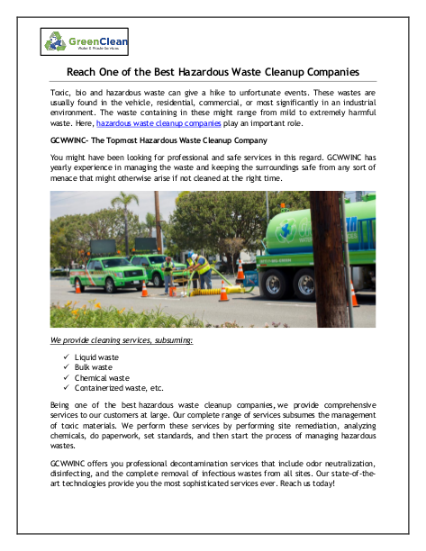 Reach One of the Best Hazardous Waste Cleanup Companies   edocr