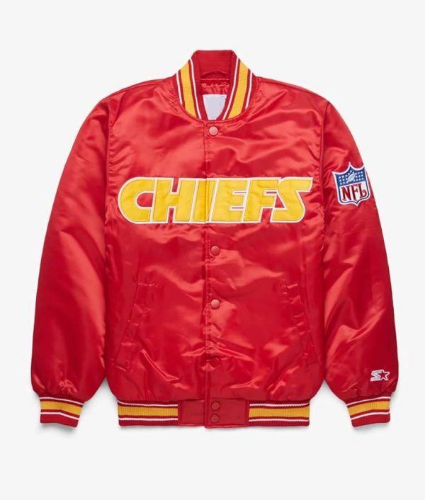 Mens Red Bomber Jacket Starter Chiefs With Rib - Chiefs Starter Jacket