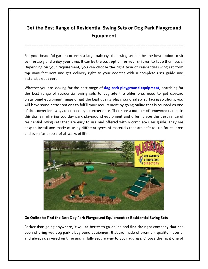PPT - Get the Best Range of Residential Swing Sets or Dog Park Playground Equipment PowerPoint Presentation - ID:10800495