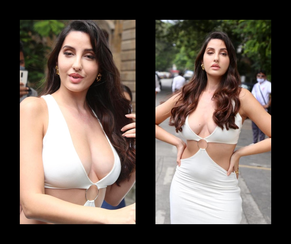 Nora Fatehi flaunting her curves in Plunging Neckline Bodycon